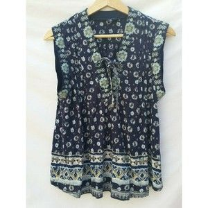 Lucky Brand Womens XS Navy Floral Boho Knit Top